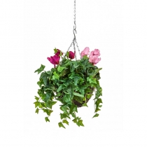 Artificial Hanging Basket Contract Cyclaman Purple Pink 25cm ASCTL9562 (1)