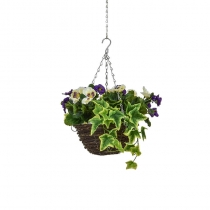 Artificial Hanging Basket Contract Pansy Purple White 25cm ASCTL9550 (1)