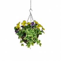 Artificial Hanging Basket Contract Pansy Purple Yellow 25cm ASCTL9551 (1)