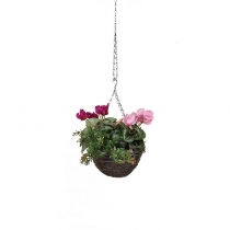 Artificial Hanging Basket Cyclamen Red Pink 25cm ASCTL1416 (1)