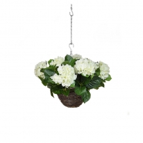 Artificial Hanging Basket  Hydrangea Hanging Basket White 25cm ASCTL1414 (1) (1)