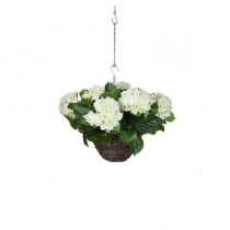 Artificial Hanging Basket  Hydrangea Hanging Basket White 25cm ASCTL1414 (2)