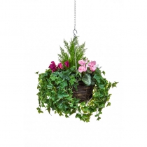 Artificial Hanging Basket  Large Cyclaman Purple White Pink 40cm ASCTL9564 (1)