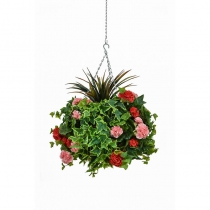Artificial Hanging Basket  Large Geranium Red Pink 40cm ASCTL9561 (1)
