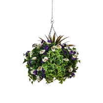 Artificial Hanging Basket  Large Pansy Purple White 40cm ASCTL9559 (1)