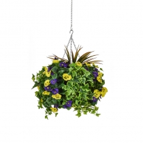 Artificial Hanging Basket  Large Pansy Purple Yellow 40cm ASCTL9558 (1)