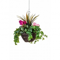 Artificial Hanging Basket  Medium Cyclaman Purple Pink 30cm ASCTL9563 (1)