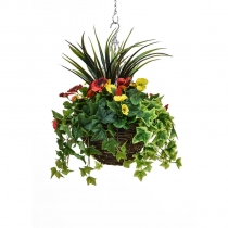 Artificial Hanging Basket  Medium Pansy Orange Yellow 30cm ASCTL9554 (1)