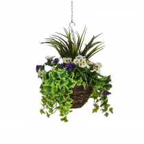 Artificial Hanging Basket Medium Pansy Purple White 30cm ASCTL9555 (1)