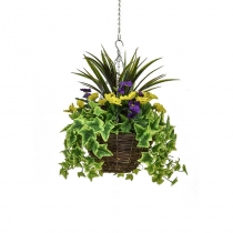Artificial Hanging Basket  Medium Pansy Purple Yellow 30cm ASCTL9557 (1)