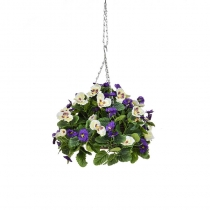Artificial Hanging Basket Pansy Ball Purple White ASCTL1432 (1)