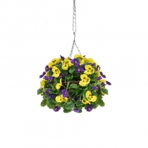 Artificial Hanging Basket Pansy Ball Purple Yellow ASCTL1435 (1)