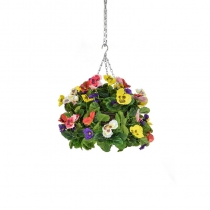 Artificial Hanging Basket -Pansy Ball Six Colour Mix ASCTL1433 (1)