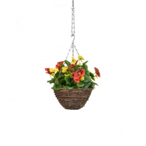 Artificial Hanging Basket  Pansy Black Orange Yellow ASCTL1438 (1)