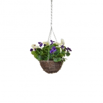 Artificial Hanging Basket -Pansy Purple White ASCTL1436 (1)