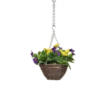 Artificial Hanging Basket -Pansy Purple Yellow ASCTL1439 (1)