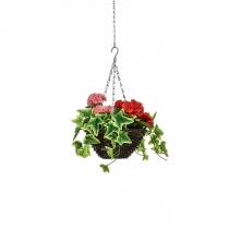 Artificial Hanging Basket  Geranium Red Pink 25cm ASCTL9549 (1)