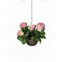 Artificial Hanging Basket Hydrangea Hanging Basket Pink 25cm ASTL1418 (1)
