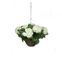 Artificial Hanging Basket  Hydrangea Hanging Basket White 25cm ASCTL1414 (1) (1)