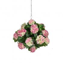 Artificial Hanging Basket Hydrangea Pink Ball 25cm ASCT1419 (1)