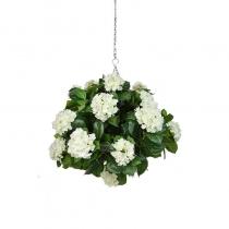 Artificial Hanging Basket Hydrangea White Ball 25cm ASCTL1415 (1)