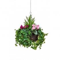 Artificial Hanging Basket  Large Cyclaman Purple White Pink 40cm ASCTL9564 (1)