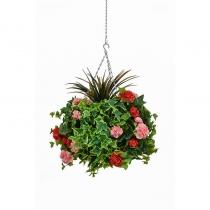 Artificial Hanging Basket  Large Geranium Red Pink 40cm ASCTL9561 (1)