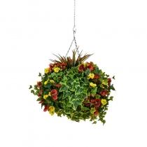 Artificial Hanging Basket  Large Pansy Orange Yellow 40cm ASCTL9560 (1)