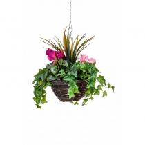 Artificial Hanging Basket  Medium Cyclaman Purple Pink 30cm ASCTL9563 (1)