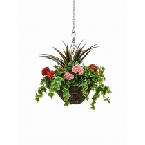 Artificial Hanging Basket  Medium Geranium Red Pink 30cm ASCTL9553 (1)