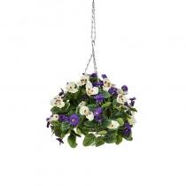 Artificial Hanging Basket Pansy Ball Purple White ASCTL1432 (1)