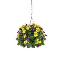 Artificial Hanging Basket Pansy Ball Purple Yellow ASCTL1435 (1)