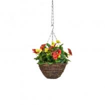 Artificial Hanging Basket  Pansy Black Orange Yellow ASCTL1438 (1)