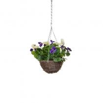 Artificial Hanging Basket -Pansy Purple White ASCTL1436 (1)