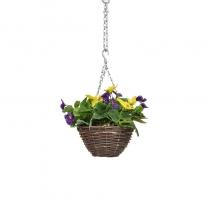 Artificial Hanging Basket -Pansy Purple Yellow ASCTL1439 (1)
