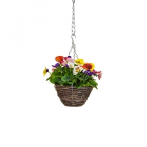 Artificial Hanging Basket -Pansy Six Colour Mix ASCTL1437 (1)