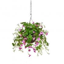 Artificial Hanging Basket Petunia Mixed White Pink ASCTL1479 (1)