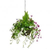 Artificial Hanging Basket-Petunia Mixed White Pink Purple ASCTL1480 (1)